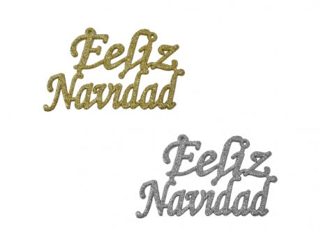 """ADORNO DE NAVIDAD  """"FELIZ NAVIDAD"""" DORADO, PLATEADO, ROJO"""