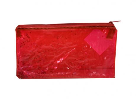CARTUCHERA PLASTICA ESTRELLA (20X13X5) ROJO