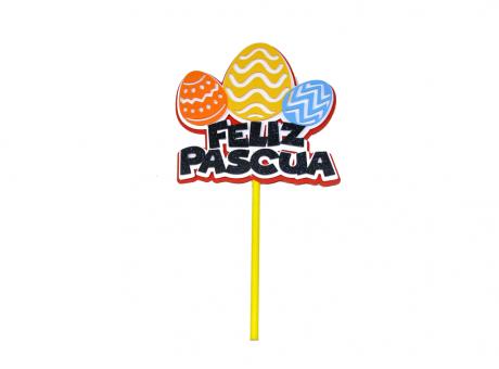 TOPPER FELIZ PASCUA 3 HUEVOS