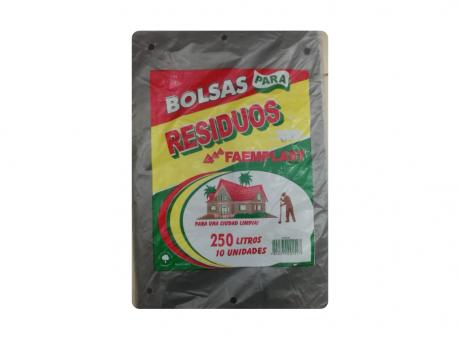 FP BOLSA BASURA 250 LTS NEGRO 10 HJS  80X110X22