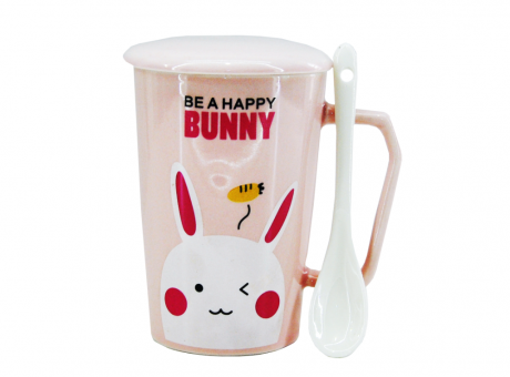TAZA C/ CUCHARITA PORCELANA BE A HAPPY XX