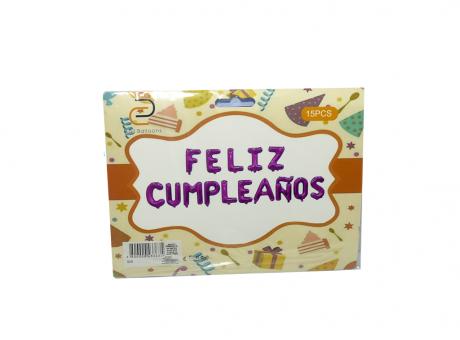 "GLOBO METALIZADO, CUMPLEANOS LETRAS ""FELIZ CUMPLEANOS"", FUCSIA 40CM, 16"" XX"